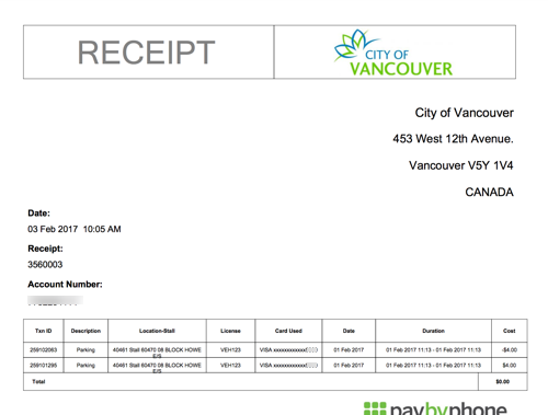 Parking History and Receipts – PayByPhone Support